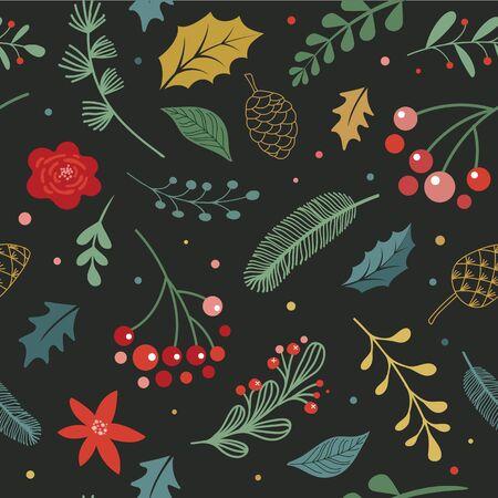 Christmas modern, elegant Scandinavian, nordic seamless pattern. Vecor design Ilustração