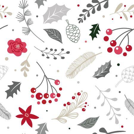 Christmas modern, elegant Scandinavian, nordic seamless pattern. Vecor design Фото со стока - 131388381