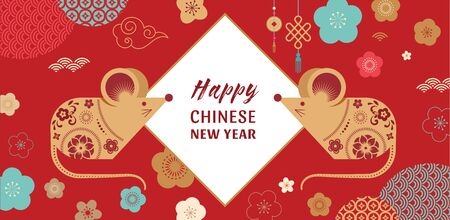 Happy Chinese new year design. 2020 Rat zodiac. Cute mouse cartoon. Vector illustration and banner concept in flat style Illustration