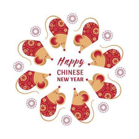 Happy Chinese new year design. 2020 Rat zodiac. Cute mouse cartoon. Vector illustration and banner concept in flat style Illusztráció