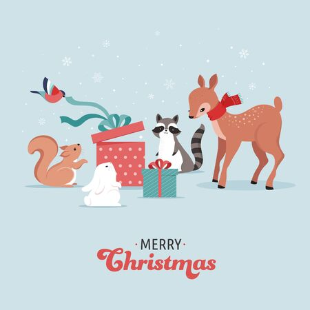 Cute forest animals, winter and Christmas scene with deer, bunny, raccoon, bear and squirrel. Perfect for banner, greeting card, apparel and label design. Vector illustration