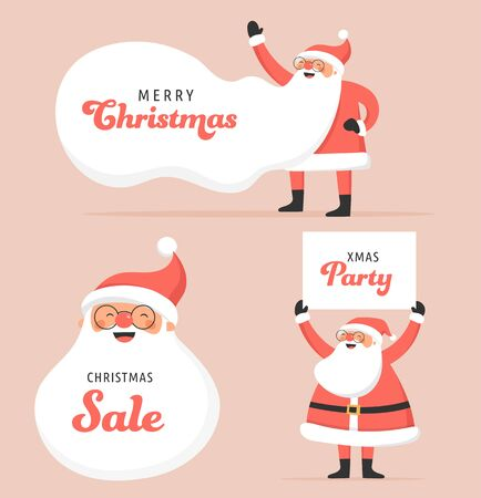 Collection of happy Santa Clauses, dancing, jumping, holding sign, driving on scooter. Vector illustrations Stock Illustratie