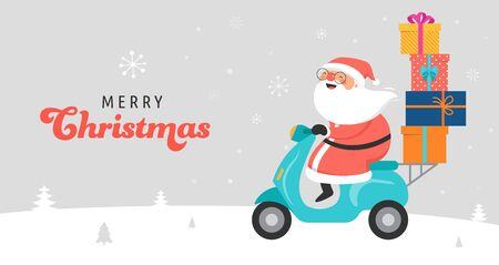 Santa Claus riding on scooter. Delivery christmas gifts concept. Vector illustration template