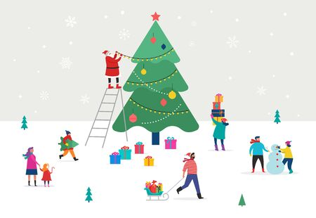 Merry Christmas, winter scene with a big Xmas tree and small people, young men and women, families having fun in snow, decorating a tree, skiing, snowboarding, sledding, ice skating Illustration
