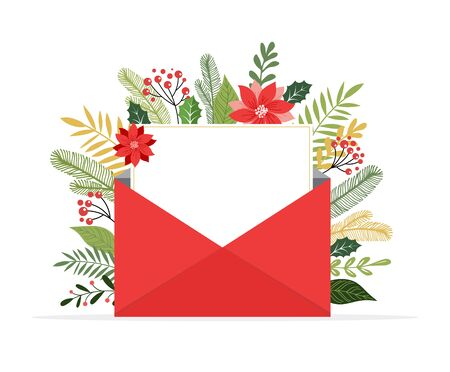 Christmas letter coming out of envelope. Blank white paper for writing Xmas message. Vector illustration template