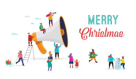 Christmas announcement, Merry christmas, Happy new year background, sale banner with scene of miniature people, Santa Claus with huge megaphone, families and children. Stock fotó - 133555648