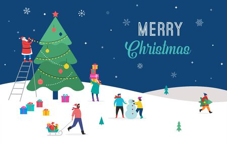 Merry Christmas, winter scene with a big Xmas tree and small people, young men and women, families having fun in snow, decorating a tree, skiing, snowboarding, sledding, ice skating 일러스트