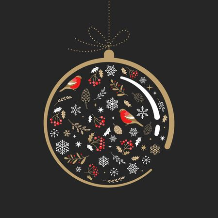 Elegant gold and black Christmas ornament with Xmas elements. Vector illustration 向量圖像