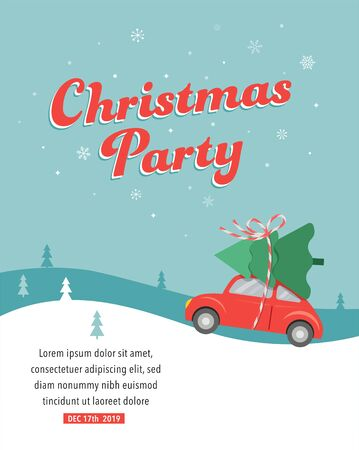 Christmas party card design with car delivering a Xmas tree Stock fotó - 133555691