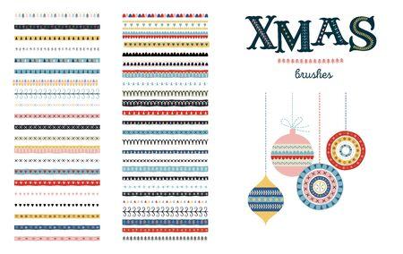 Seamless Christmas and Winter pattern brushes for Illustrator. Vector design Stock Illustratie