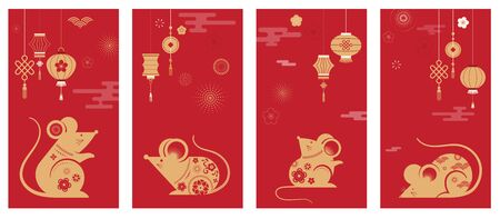 Happy Chinese new year design. 2020 Rat zodiac. Cute mouse cartoon. Japanese, Korean, Vietnamese lunar new year. Vector illustration and banner concept