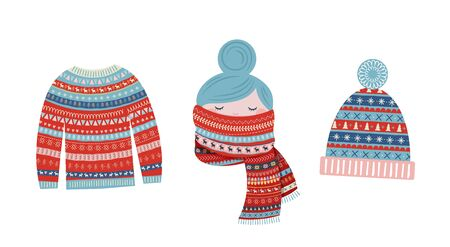 Christmas illustrations, winter patterned elements. Sweater, girl with a scarf, knitted hat