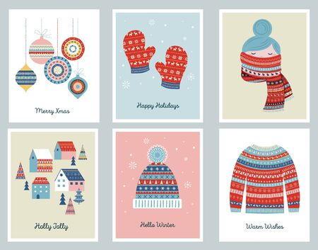 Merry Christmas cards with patterned illustrations and elements. Vector design
