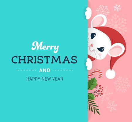 Diseño de concepto de Santa Mouse, año nuevo chino y feliz Navidad. Ilustración de vector de estilo plano