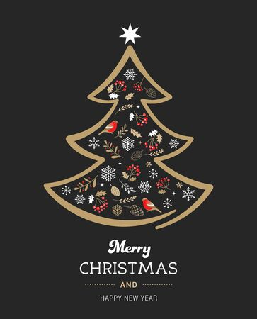Elegant gold and black Christmas tree with Xmas elements. Vector illustration