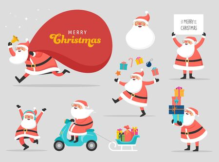 Collection of happy Santa Clauses, dancing, jumping, holding sign, driving on scooter