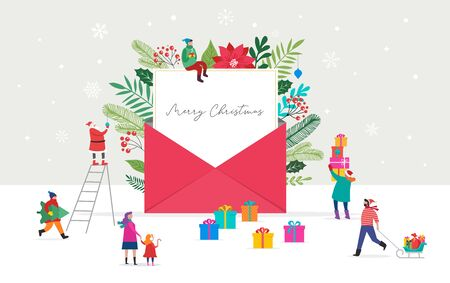 Christmas letter coming out of envelope. Blank white paper for writing Xmas message. Vector illustration