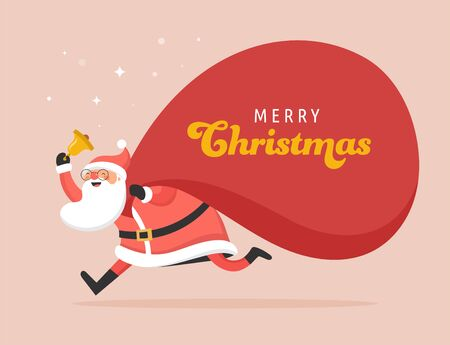 Santa Claus with a huge bag of gifts. Delivery christmas gifts concept. Merry Christmas banner and card vector design Ilustrace
