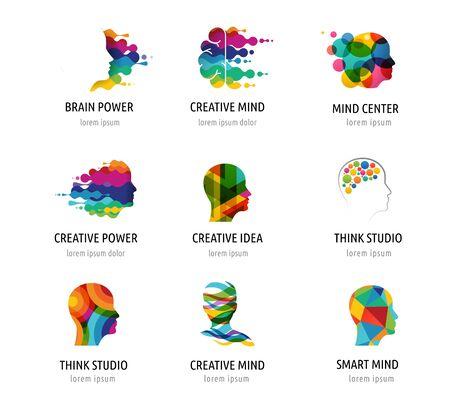 Cerebro, mente creativa, aprendizaje y diseño de iconos, logotipos. Cabeza de hombre, símbolos de personas Logos