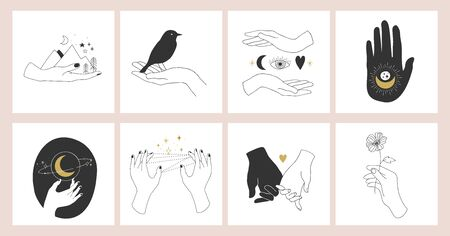 Collection of fine, hand drawn style logos and icons of hands. Fashion, skin care and wedding concept illustrations. Vectores