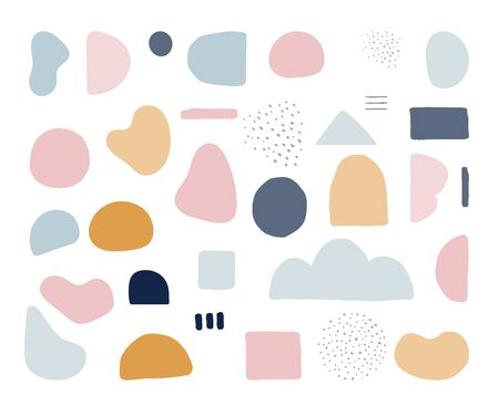 Modern trendy abstract shapes in pastel colors. Scandinavian clean vector design