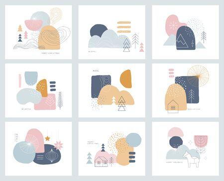 Raccolta di disegni di sfondo astratti, forme in stile scandinavo pulito e alla moda. Modelli di storie, saldi invernali e contenuti promozionali sui social media