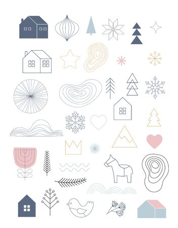 Christmas illustrations, hand drawn simple elements and icons in Scandinavian trendy style. Vector illustration collection Illustration