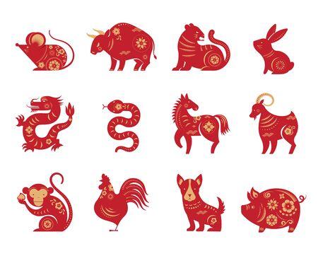 Capodanno cinese, segni zodiacali, icone e simboli tagliati a carta.