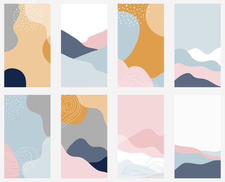 Collection of abstract background designs, shapes in clean Scandinavian trendy style. Story templates, winter sale and social media promotional content
