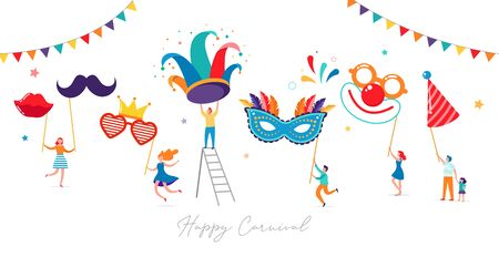 Carnival, party, Purim background. Scene with tiny, miniature people, families, kids and young adults jumping, dancing and celebrating.