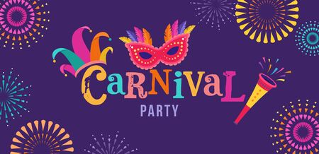 Carnival, party, Rio Carnaval, Purim background with confetti, music instruments, masks, clown hat and fireworks. Vector design and illustration