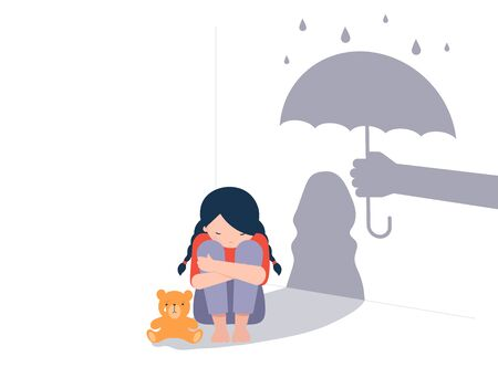 Sad little girl with teddy bear sitting on floor, shadow on the wall is a hand with umbrella protects her. Child abuse, violence against children concept design. Illustration