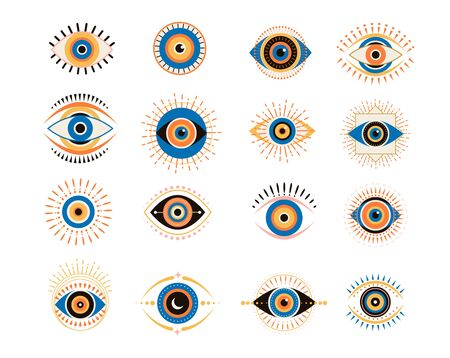 Evil eyes icons set. Contemporary modern, trendy vector illustrations, home decor idea