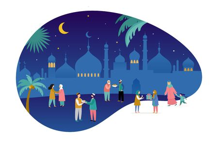 Ramadan Kareem, Eid mubarak, greeting card and banner with many people, giving gifts, food. Islamic holiday background. Vector illustration Vector Illustratie