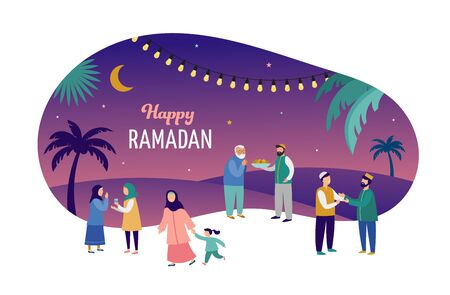Ramadan Kareem, Eid mubarak, greeting card and banner with many people, giving gifts, food. Islamic holiday background. Vector illustration