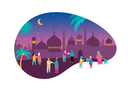 Ramadan Kareem, Eid mubarak, greeting card and banner with many people, giving gifts, food. Men, women and children walking on the street. Islamic holiday background. Vector illustration