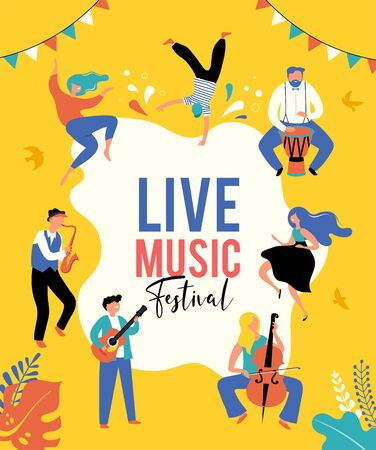 Summer fest, concept of live music festival, jazz and rock, food street fair, event poster and banner. People dance and play music. Vector design and illustration