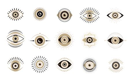 Evil eyes icons set. Contemporary modern, trendy vector illustrations, home decor idea