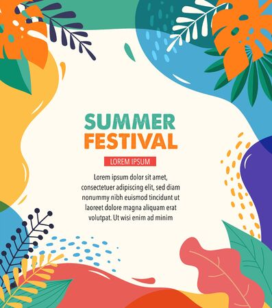 Hello Summer, festival and fair banner design template with vintage colors