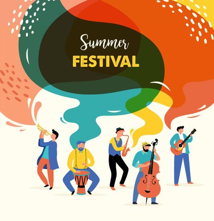Summer fest, concept of live music festival, jazz and rock, food street fair, event poster and banner colorful vector design