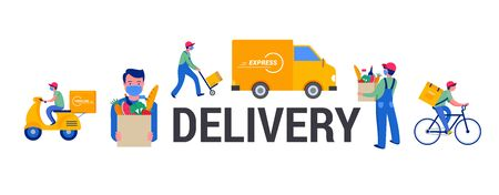 Safe online delivery during the coronavirus pandemic - online order tracking, delivery door to door, home and office. Warehouse, truck, drone, scooter and bicycle courier, delivery man in respiratory mask. Vector illustration Ilustración de vector