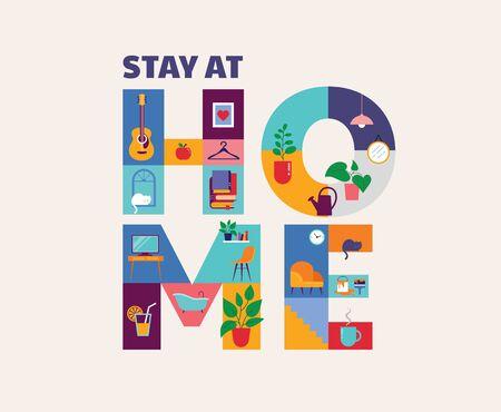 Bleiben Sie zu Hause, Konzeptdesign. Verschiedene Arten von Menschen achten während des COVID-19-Ausbruchs auf ihre Nachbarn und kommunizieren mit ihnen. Selbstisolation, Quarantäne während der Coronavirus-Epidemie. Vektorgrafik im flachen Stil