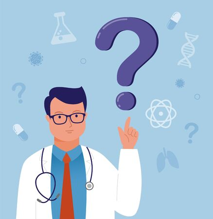 Ask the doctor. Doctor, medical professional is standing in front a question mark. Simply add the text. Vector illustration