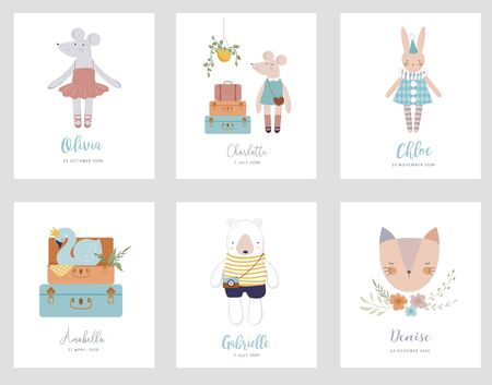 Trendy baby and children illustrations, baby shower cards, invites. Vintage style. illustrations