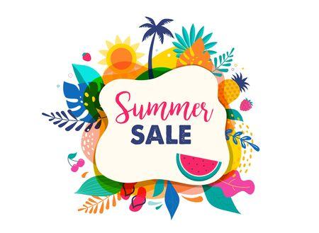 Hello summer abstract background, summer sale banner, poster design. Vector illustration