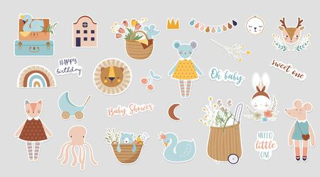 Trendy baby and children illustrations, stickers, tattoos. Vintage style.