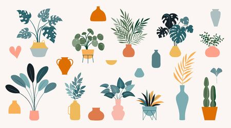 Collection of stickers and decorative design elements, plants, rainbow and leaves, hand drawn in trendy doodle style. Colorful vector illustrations and prints