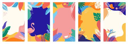 Collection of abstract background designs, summer sale, social media promotional content. Vector illustration templates