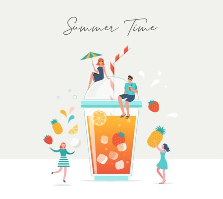 Summer scene, group of people, family and friends having fun around a huge glass of juice, fruit smoothie, surfing, swimming in the pool, drinking cold beverage, playing on the beach Vectores