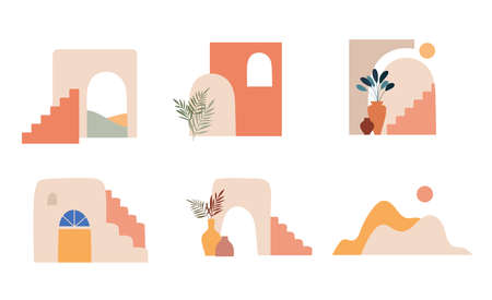 Abstract architecture, mountains, town and shapes. Morocco, Mexico, Middle East. Vector elements and illustrations Vetores